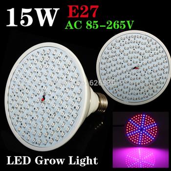 2015 Newest 220V/110V E27 15W 90RED:36BLUE 126pcs LEDS Led Plant Grow Led Bulb Led Light For Hydroponic Systems Lighting