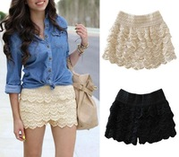 Hot Sale Korean Fashion Womens Sweet Cute Crochet Tiered Lace Mini Skirt Pants 2014 women shorts Dropshipping WF-024