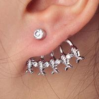 #116 Fashion Delicate Rhinestone Fish Stud Earring For Single Ear 2014 New Free Shipping 24pcs/lot