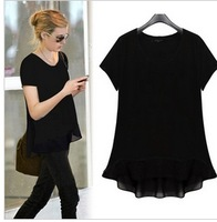 Free shipping 2013 Women Summer Chiffon O-neck shirts, Casual Big size Ladies Short-Sleeve BlousesL XL 2XL 3XL 4XL 5XL 6XL