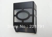 Free shipping 10PCS/LOT  100% Guaranteed Black ABS 2pcs LED outdoor solar garden light/solar wall light lamps/solar lights