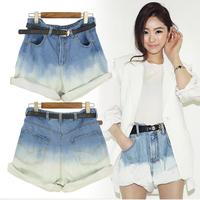 Retail Short Jeans Summer Loose Shorts women, Ladies' Roll Hem Gradients Color High Waist Jean Shorts Sexy Denim Shorts