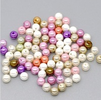 Free shipping-1000 PCs Random Mixed Pearl Imitation Acrylic Round Beads 6mm M00867