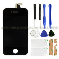 HK Post Free Ship Best Price Display For Iphone 4 LCD with Digitzer Touch Screen Replacement With Tool Kit