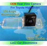 Free shipping! HD Rear View Toyota Highlander 2008- 2012 CCD night vision car reverse camera auto license plate light camera