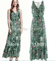 2013 New Summer Dress Fashion Long Women Chiffon Porcelain Print Vestidos Casual Maxi Bohemian Dress Free Shipping