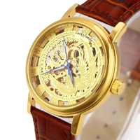 Women's golden Steel Luxury phenix AUTOMATIC Watch Gold Skeleton Mechanical watch chinese gifts ,free shipping