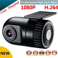 Free Shipping 1920*1080P D168 HD Smallest Car Camera 140 high definition wide-angle lens 12V Car DVR Cam recorder G-sensor