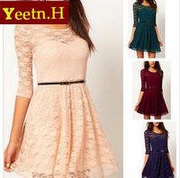 3305  2014 Hot Sale Fashion Women's Sexy Spoon Neck 3/4 Sleeve Lace Sakter Dress Belt Included 3 Colour 4 Size