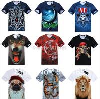 [AMY] 2014 fashion 3d t shirt men animal/games printing short sleeve o neck  tshirt high quality 21models free shipping