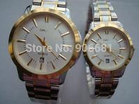 Newest design Men Luxury Brand Gold Watch Men Full Steel Watches Women Dress Watch 2014 New Fashion lover Quartz Wristwatches
