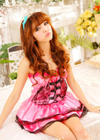 Sexy lingerie pink princess costumes set sleepwear costume sexy sleepwear,sexy uniform Free Shipping PC0615(Dress+underwear)