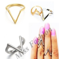"Free Shipping"" V"" Shape Top of Finger Knuckle Midi  Ring"