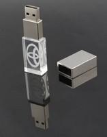 Hot sell free custom design your logo LED crystal USB flash drive Gift USB stick.