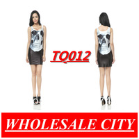2013 Original  Gothic Style Punk Skull Tank Dress Women's Black Milk  Tight Vest Sleeveless  Wholesale