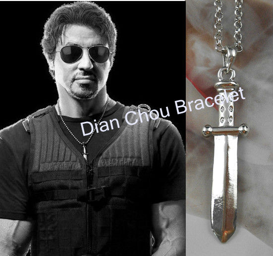 Freeshipping wholesale 20pc a lot The Expendables 2 Stallone Knife Dagger Necklace for men and wonen HR0881(China (Mainland))