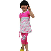 Free Shipping! Clothing sets for summer 2013 girl set with t-shirts and girl short leggings pants size 4-14 wholesale #0420K