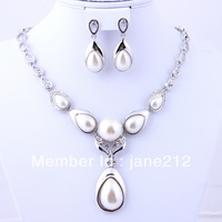 Free Shipping  top selling fashion bridal  silver plated wedding jewelry  sets charming costume jewelry sets