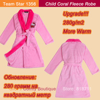 2013 Autumn And Winter Cute Child Good Quality Thickening Coral Fleece Rose Pink Hello Kitty Home Wear Girl Child Robe (TS1326)