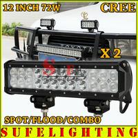 Free DHL Shipping 2PCS 12INCH 72W LED Light Bar Cree Combo 9V-32V LED Work Light Bar Truck ATV SUV 4WD LED Driving Lamp 4X4 54W