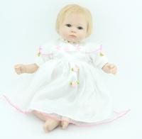 "Hot fashion 18"" Silicone vinyl Reborn Baby Doll gold mohair handmade lifelike newborn real baby doll"
