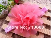 Hot Saling 4.5 inch Baby Elastic chiffon Flower Hair Band Infant Toddler Headbands30pcs/lot