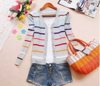 Free shipping,2013 new arrival v-neck sweater, plus size cotton colorful striped women's fashion knitwear,Free size,3 colors