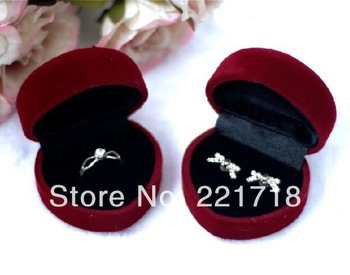 Free Shipping 10 Pcs/Lot Red Fabric Velveteen Heart Shaped Mini Jewelry Box for Rings Wholesale