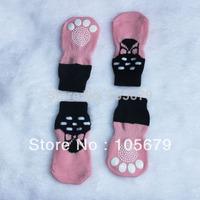 1 Set Fashion Dog Socks Pink Pet Cat Socks 4 pcs/set Cotton Material Dog Pet Cat Shoes Mix Design and Mix Color PS016