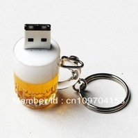 Hotting Sale Cartoon Cute Beer + Chain 4GB 8GB 16GB 32GB 64GB USB 2.0 Flash Memory Stick Drive Thumb / Car / Pen Gift