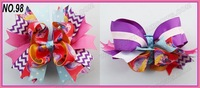 free shipping 20pcs 2013 Newest 6'' Large Stacked hair bows Layered boutique hair bows  animal print bows Zebra hair bows