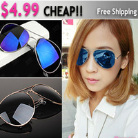2013 New Arrival Cheap High Quality Multi Color Reflect Sunglasses Metal Frame Retro Fashion Sunglasses Men Women Free Shipping