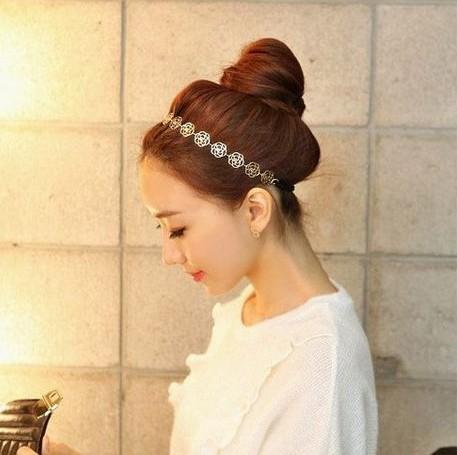 2014 Hot Gold/Bronze Korean Fashion Sweet Elegant Romantic Hollow Rose Flower Hairband Hair Accessories Jewelry wholesale PD27(China (Mainland))