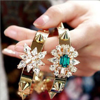 2013 New Arrival Free Shipping Europe And The U.S Style Vintage Hollywood Fine Bracelet Chain Shining Gems Rivet Punk BL0107