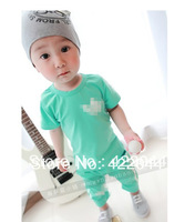 Free shipping (2colors) 2013 new korea baby 100%cotton Suits , boy/girl 's short sleeves suits 5sets/lot