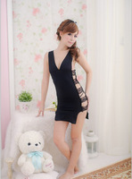Sexy Sleepwear Sexy Black Lingerie Body Dress+Underwear Super ,Underwear ,Uniform ,Free Size Free Shipping(Body Dress+Underwear)