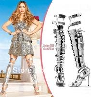 Big Size 13 Jennifer Lopez Shinning Gold/Silver Over The Knee Boot s Designer Gladiator Cut-out Buckle Sandas Summer Shoes Women