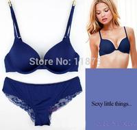 2015 new women bra briefs Young girl underwear sexy deep V-neck push up bra set gentlewomen lace chiffon underwear