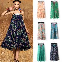 Summer new Bohemian national wind printing chiffon skirt  (M13)