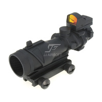 JJ Airsoft ACOG Style 4x32 Scope with Docter Mini Red Dot Light Sensor (Black) FREE SHIPPING Buy 1 get 1 killflash FREE
