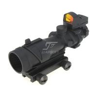 JJ Airsoft ACOG Style 4x32 Scope with Docter Mini Red Dot Light Sensor & Killflash / Kill Flash (Black) FREE SHIPPING
