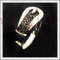 Jewelry sapphire lady's 14KT white Gold-plated Ring Zircon ring Black Belt Woman personalized rings