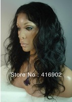 "new fashion  Human Hair  Lace front Wig 14""-20"" long  1# jet black body wave 100% Indian Remy Human hair Lace Front Wigs / cap"