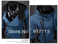 Blue 2013 High Quality New Fashion Men's Assassin's Creed Costume Slim Hoodie Coat Jacket Hoody Assassins Creed