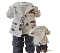 2013 Best retail selling children's Clothing Sets cotton coat+T-shirt+pants baby boy kids three piece suit sets