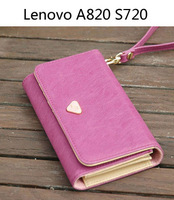 TOP Quality PU Leather wallet /Smart Pouch/mobile phone bag case for Lenovo S820 S750 A760 P770 S720 A798T A630 A820