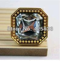 Single Glod K9 Crystal & Zinc Alloy Furniture Golden Finished& Clear Crystal Drawer Knobs&Handle