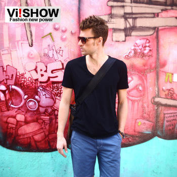 V-neck men  viishow2013 summer new trend men's short-sleeved T-shirt male solid color Slim  bottoming designer clothes for men