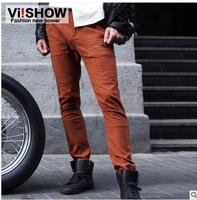viishow men's casual pants straight men pants tide Orange Straight men's casual pants trousers wild