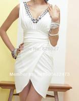 NEW 2014 Fashion V-Neck Rhinestone Cocktail Dress Party Dress For Women